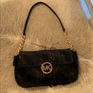 Michael Kors Fur and Leather Shoulder Bag